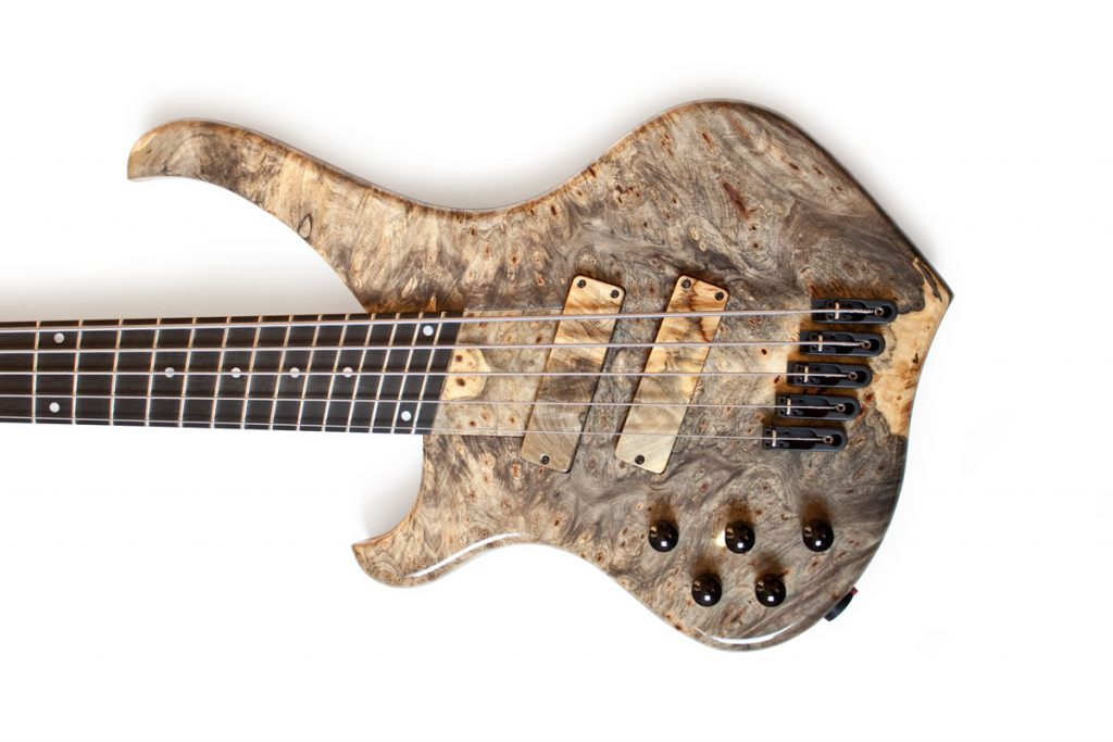 BassLine Buster CW 5 multiscale custom bass buckeye burl fanned fret made in germany
