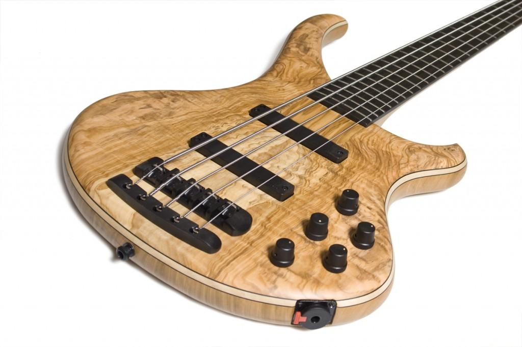 BassLine Buster CW 5 maple cherry olive top custom bass delano pickups