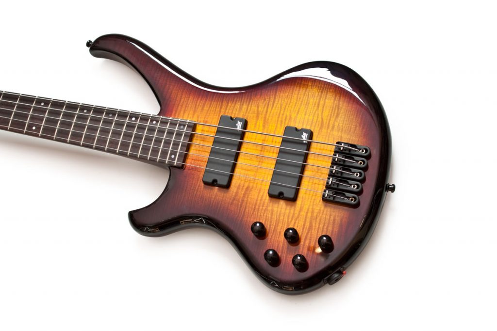 BassLine Buster Art 5 lefthanded bass lefty custom aguilar neckthrough sunburst